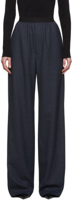 Balenciaga Navy Wool Prince Of Wales Trousers