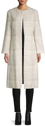 Oscar de la Renta Textured Open-Front Silk-Blend Coat
