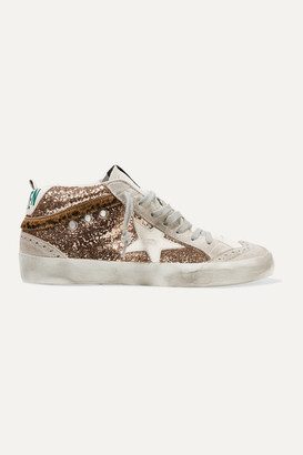 Golden Goose Mid Star Distressed Glittered Leather And Suede Sneakers - IT35