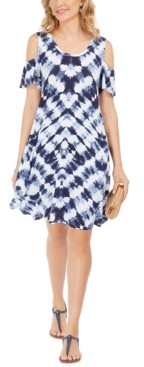 Style&Co. Style & Co Tie-Dye Cold-Shoulder Swing Dress, Created for Macy's