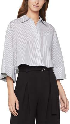 BCBGMAXAZRIA Cotton Pinstriped Cropped Shirt