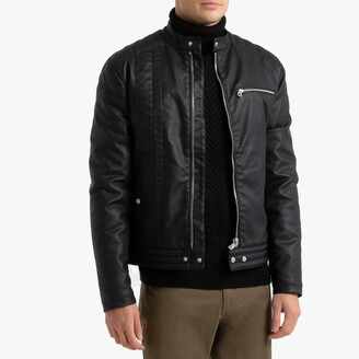 Kaporal Pu Mell Faux Leather Biker Bomber Jacket with Pockets