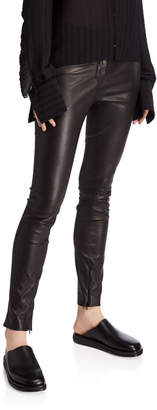 The Row Jodphur Shiny Stretch Leather Pants
