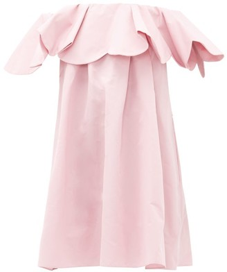 Valentino Off-the-shoulder Cotton-blend Faille Mini Dress - Womens - Light Pink