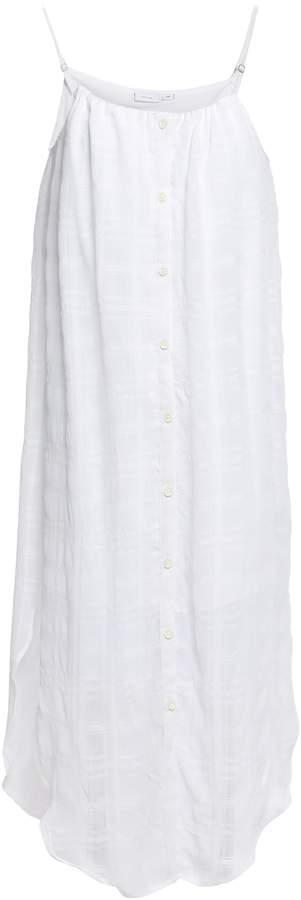 Onia Flora Checked Voile Midi Dress
