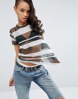 Asos T-Shirt In Mesh With Blocked Stripe
