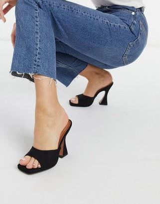 ASOS DESIGN Noland platform heeled mules in black