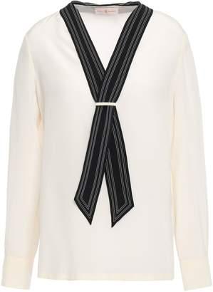 Tory Burch Tie-neck Silk Crepe De Chine Blouse