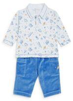 Kissy Kissy Baby's Space-Print Pima Cotton Shirt & Velour Pants Set