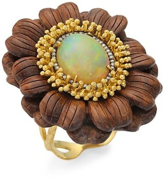 Silvia Furmanovich Marquetry 18K Yellow Gold, Opal & Light Brown Diamond Brown Flower Ring