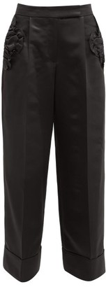 Simone Rocha Ruffled-pocket Satin Wide-leg Trousers - Womens - Black