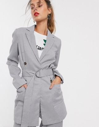 UNIQUE21 check belted D ring blazer-Grey
