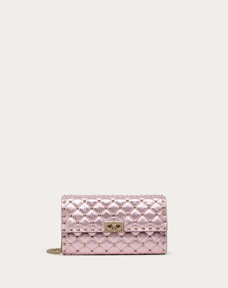 Valentino Metallic Rockstud Spike Crossbody Clutch Women Light Pink Lambskin 100% OneSize