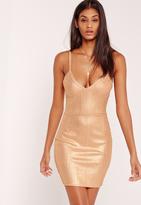 Missguided Metallic Bandage Bodycon Dress Gold