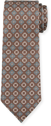 Ermenegildo Zegna Men's Alternating Medallions Silk Tie, Brown