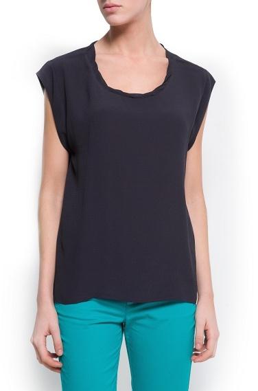 MANGO Pleated neck blouse
