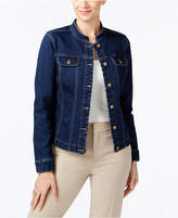Charter Club Mandarin-Collar Denim Jacket, Created for Macy's