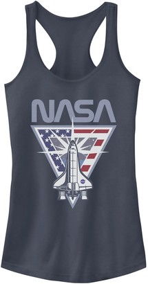 Licensed Character Juniors' NASA Triangle Shuttle & Flag Logo Tank Top