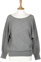 Sofia Cashmere Dolman Grey Sleeved Boatneck Cashmere Top - M