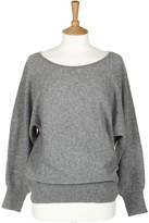 Sofia Cashmere Dolman Grey Sleeved Boatneck Cashmere Top - S