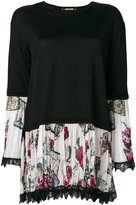 Roberto Cavalli floral pleated hem top - women - Silk/Viscose/Virgin Wool - 40