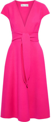 Oscar de la Renta Belted Wool-blend Crepe Dress