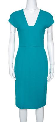 Roland Mouret Turquoise Blue Wool Crepe Sheath Dress L