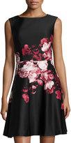 Aidan Mattox Floral-Print Fit & Flare Dress, Blush Multi