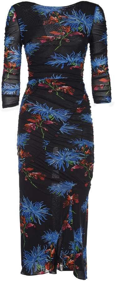 Diane von Furstenberg Mesh Ruched Dress