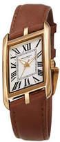 Bruno Magli Sofia Asymmetric Watch w/ Leather Strap, Brown/Gold