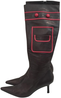 Anya Hindmarch Burgundy Leather Boots