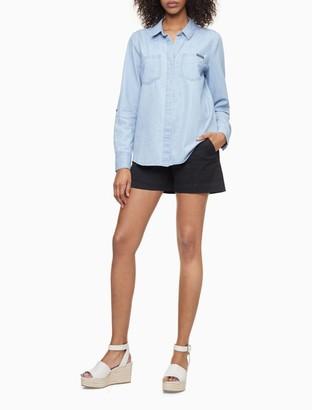 """Calvin Klein Pintuck Pique Cotton Stretch Black 4"""" City Shorts"""