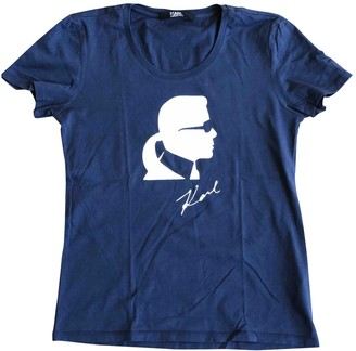 Karl Lagerfeld Paris Blue Cotton Top for Women