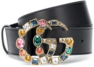 Gucci GG crystal-embellished leather belt