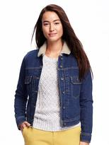 Old Navy Classic Sherpa-Lined Denim Jacket for Women