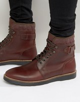 Asos Lace Up Boots With Quilt Detail In Burgundy Leather