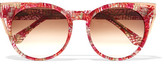 Thierry Lasry Monogamy Cat-eye Acetate And Rose Gold-tone Sunglasses - Red