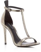 Rachel Zoe Tee Metallic Snake Embossed T Strap High Heel Sandals