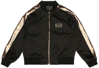 Versace Kids Leopard satin bomber jacket
