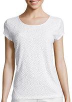 Liz Claiborne Short-Sleeve Lace T-Shirt - Petite