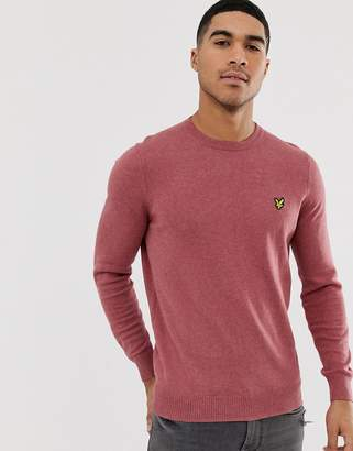 Lyle & Scott crew neck cotton merino jumper-Pink