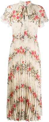RED Valentino Floral Printed Pleated Dress