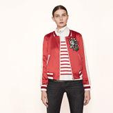 Maje Varsity-style embroidered satin jacket