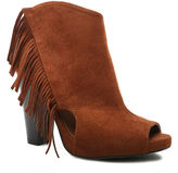 Qupid Bailey Fringe Peep Toe Booties