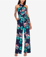 Tahari Asl Floral-Print Petite Halter Jumpsuit