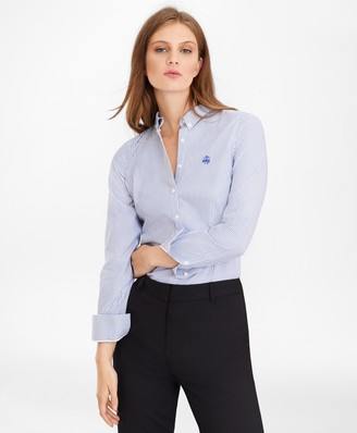 Brooks Brothers Petite Non-Iron Tailored-Fit Bengal Stripe Supima Cotton Pinpoint Oxford Shirt