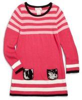 Design History Little Girl's Sequined-Pocket Striped Sweater Dress