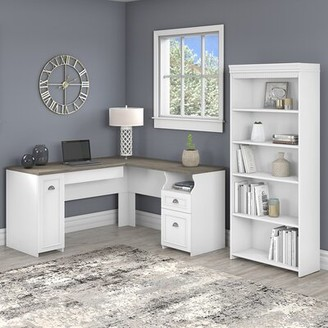 Three Posts Niles L-Shaped Executive Desk with Bookcase Color: Pure White