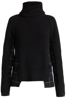 Sacai Windowpane Knit Turtleneck Sweater