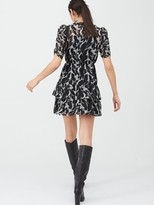 Very Ruched Sleeve Tea Dress - Mono Print
